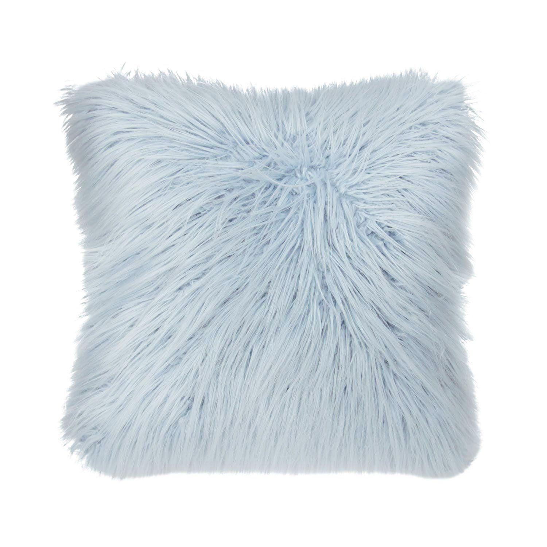 Faux Mongolian Square Pillow Light Blue Throw Pillows Light Blue Bedroom Blue Bedroom Decor