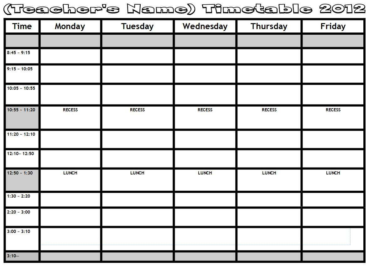Timetable  Mimma    Templates And Tags