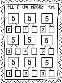Number Bond Parts Of 5 Numbers Kindergarten Kids Math