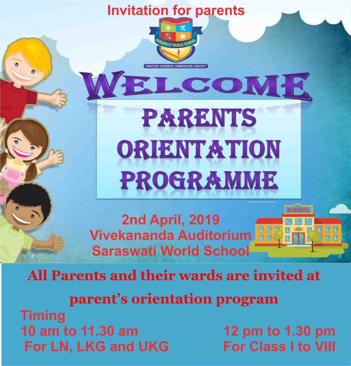 Saraswati Word Schoo On Twitter Parent Orientation Orientation Programme Healthy Habits Kindergarten