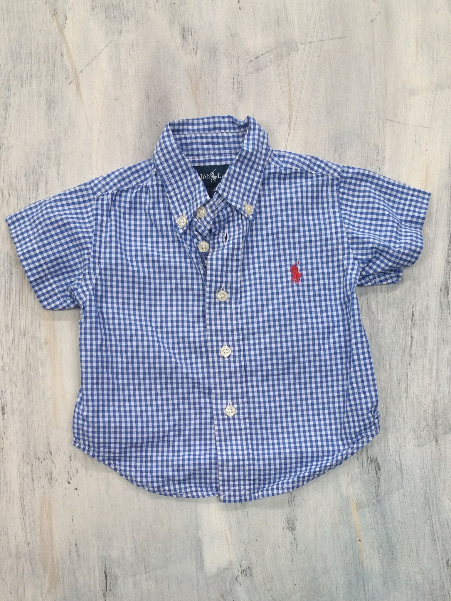 Ralph Lauren Blue Gingham Shirt - 9M
