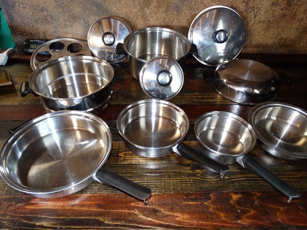 18367 12 Piece Amway Queen Cookware Set Fryers Double Boiler
