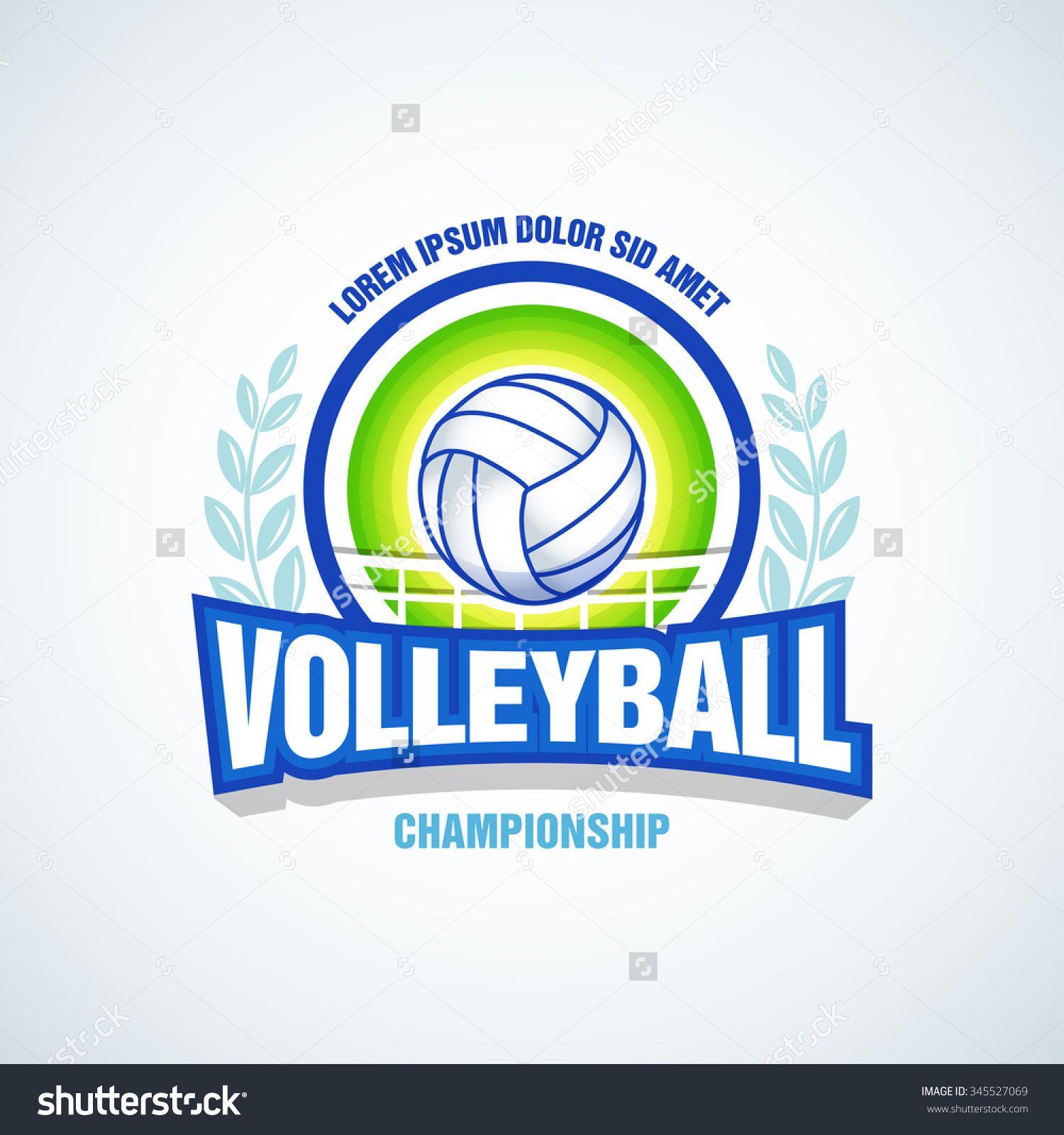 Volleyball Team Logo Template Volleyball Emblem Logotype Template T Shirt Apparel Design Volleyball Shirt Designs Volleyball Team Volleyball