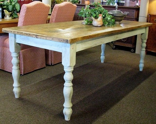 Farmhouse Table With Timber Top And White Legs French Country