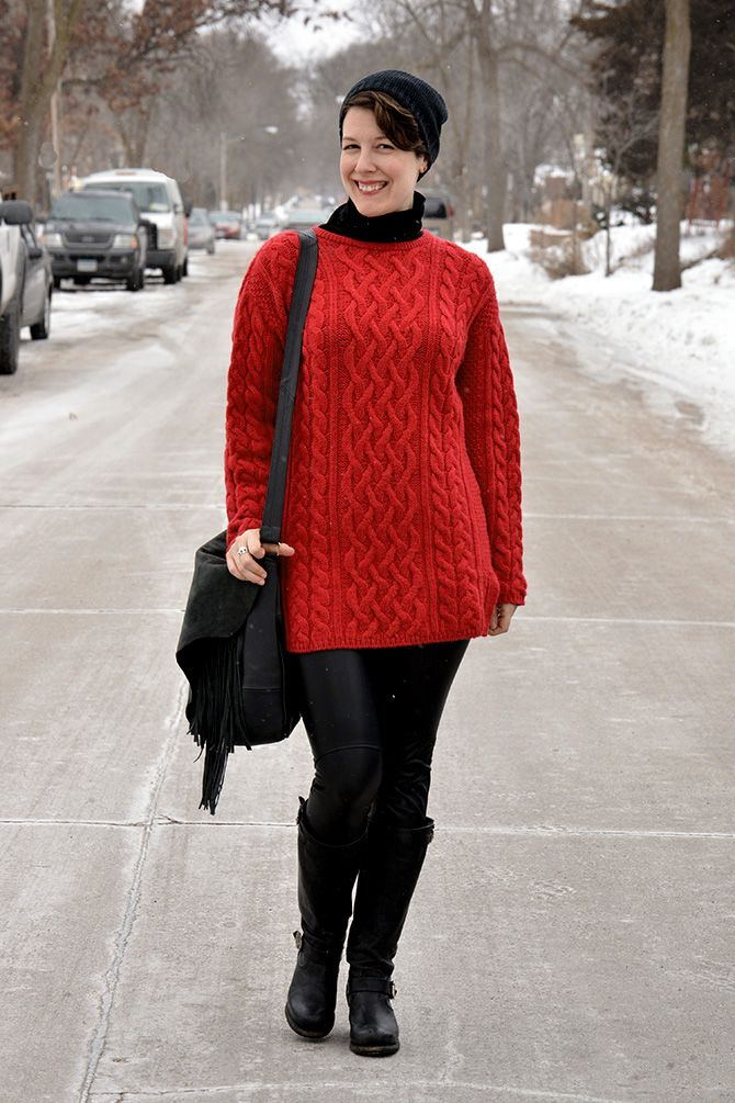Already Pretty outfit featuring red sweater tunic, leather ...