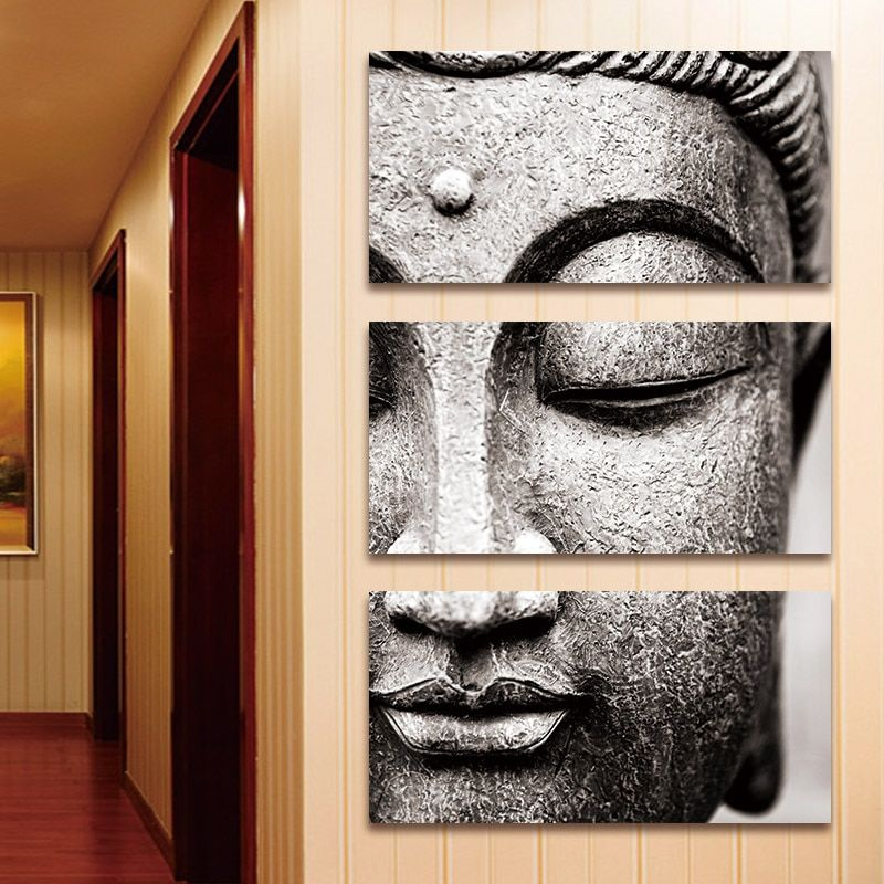 Canvas Painting Wall Art Pictures Gray 3 Panel Modern Large Oil Style Poster Buddha Wall Print Home Decor Buddha Wall Art Buddha Canvas Buddha Painting Canvas