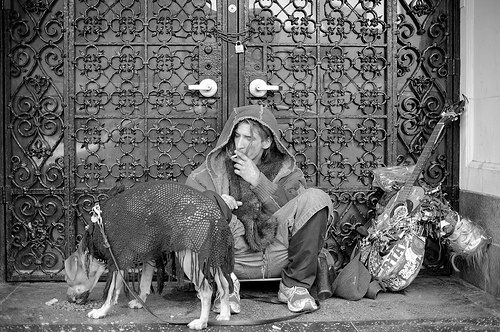I ran across photographer Tom Andrews' work on Flickr and stopped dead in my aimlessly-browsing-the-Internet tracks. This L.A.-based documentary photographer has such a unique view of the world; his photos of street dogs (and their owners) are simultaneously heartbreaking and beautiful, a testament to humanity and the intangible dog-human connection.