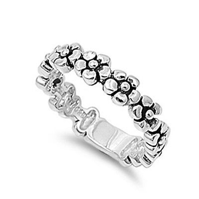 925 Solid Sterling Silver Daisy Chain Flower Band Ring In Sizes G -Z q1MKP