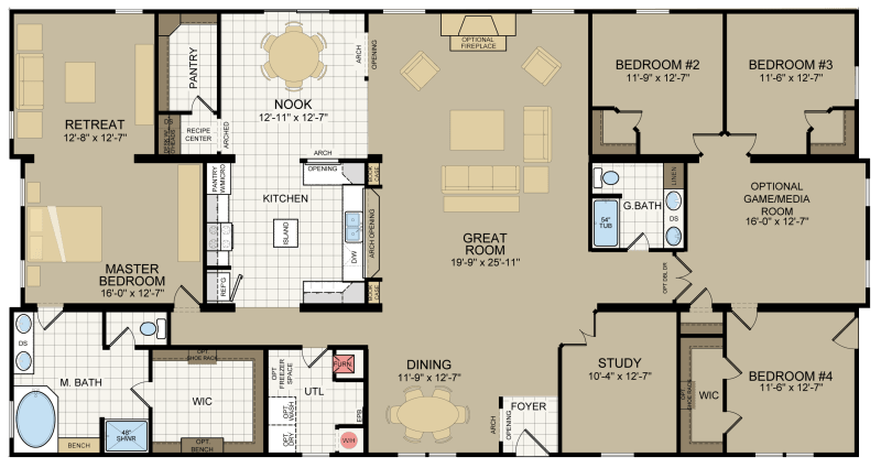 The Augusta Built By Titan Factory Direct In San Antonio Tx View The Floor Plan Of This 4 Mobile Home Floor Plans Metal Building House Plans Barn House Plans