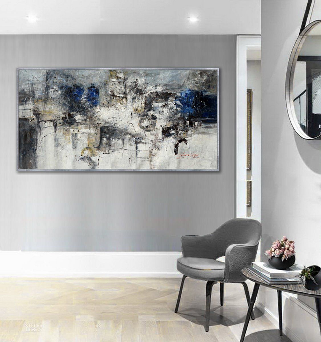 Abstract wall art work Textured Panoramic Hand painted