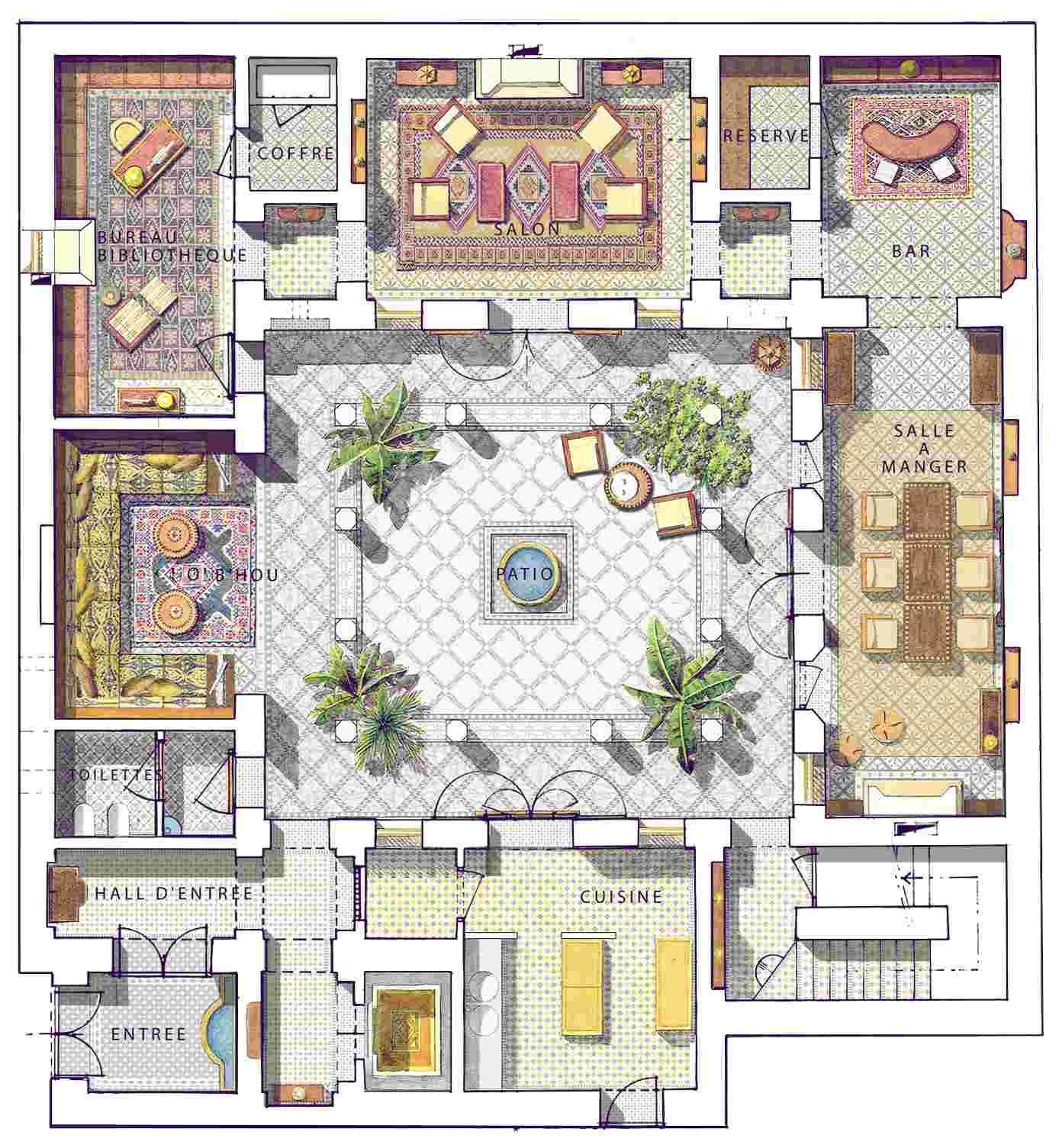 Luxury Riad In Marrakesh Prestigious Collection Courtyard House Plans Courtyard House House Floor Plans
