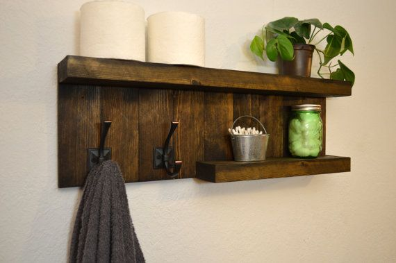 two tier floating bathroom shelf 2 hooks diy projects rustic rh pinterest com