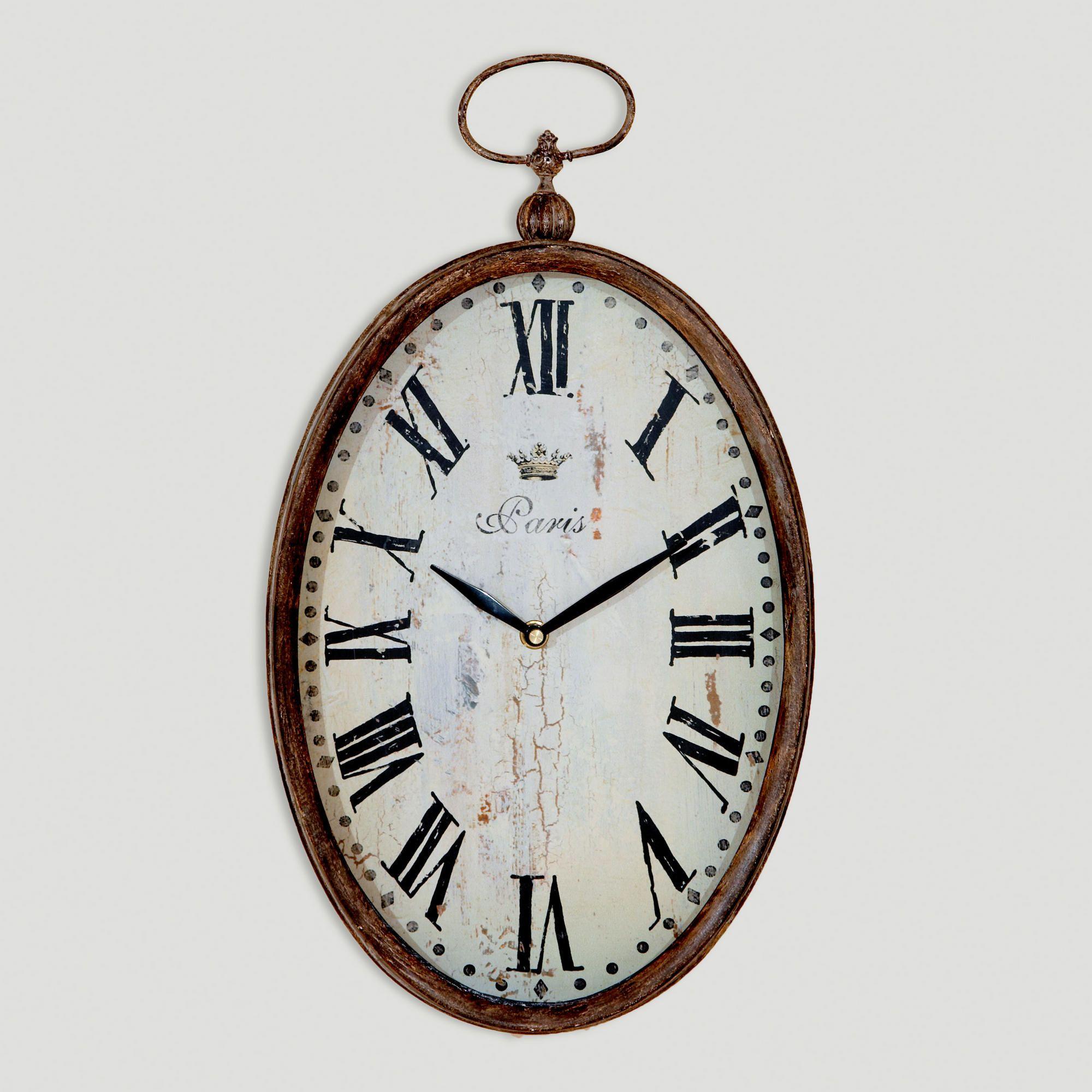 Chantal Oval Vertical Iron Clock Paris Wall Clock Wall Clock Clock