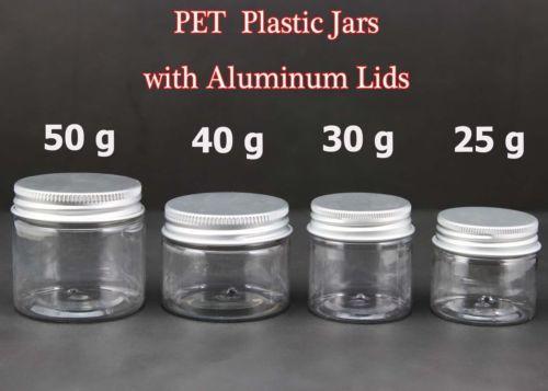 Details About Empty Pet Jars Aluminum Lids Clear Silver Plastic