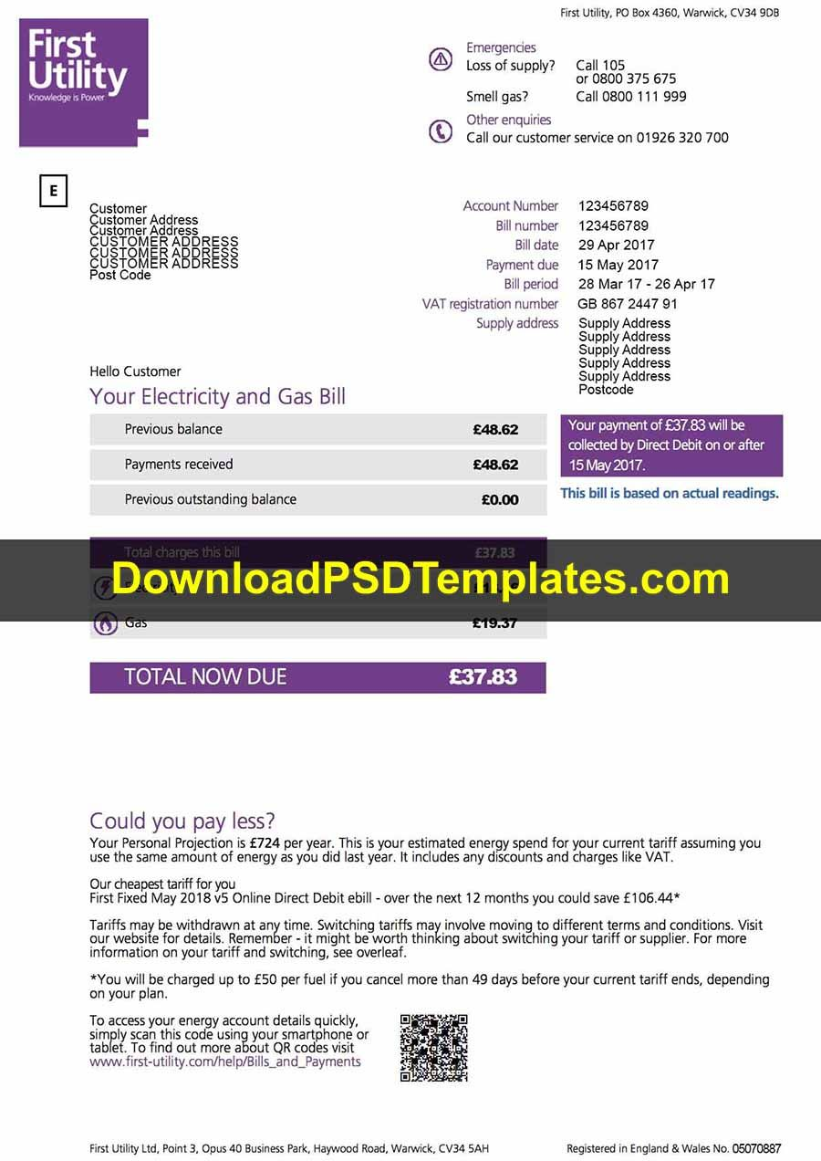 Download Fake First Utility Bill Template Psd Bill Template Templates Utility Bill