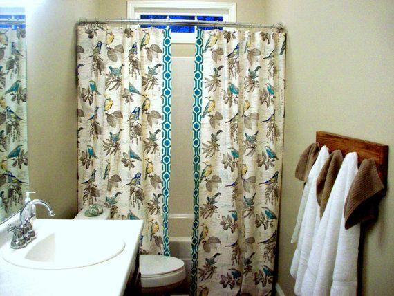 Split Panel Shower Curtain Extra Long Or Reg Length Custom Double Bath RICHLOOM Natural Teal Yellow Bird