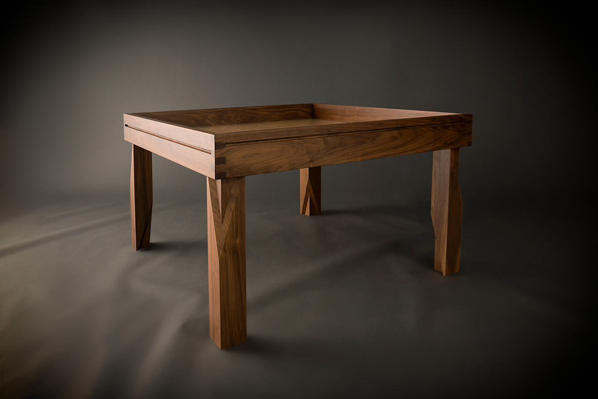 Walnut Minimalist With 4 X4 Game Vault And Hardwood Leaves Removed Table Games Simple Dining Table Table