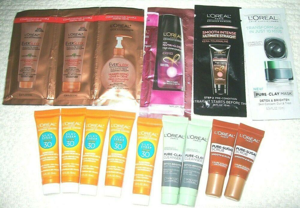 L Oreal Paris Hair Face Body Skincare Sunscreen Mask Scrub Travel Sample Lot Loral Body Skin Care Spf Sunscreen Pure Clay Mask