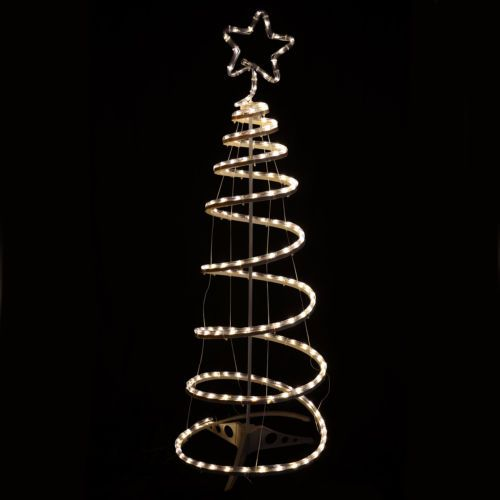 Multi Action Warm White Spiral Tree Christmas Xmas Rope Light