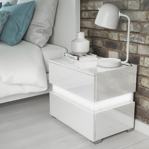 High Gloss Nightstand With LED Light Bedside End Table Bedroom Furniture White