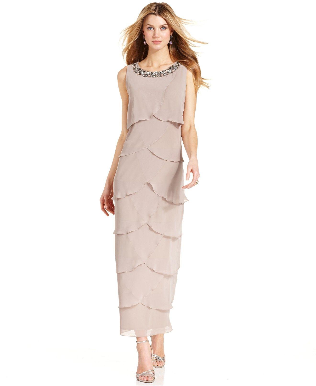 R&M Richards Petite Sleeveless Bead-Trim Tiered Dress - Dresses ...