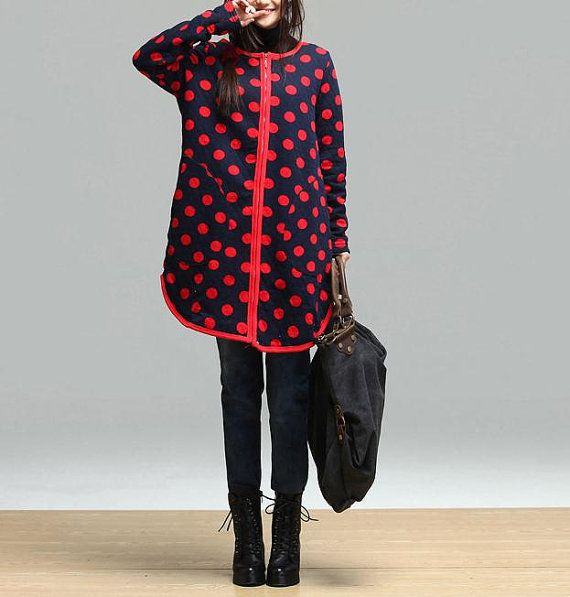 Dark blue red dot sweater plus thick velvet / van dreamyil op Etsy