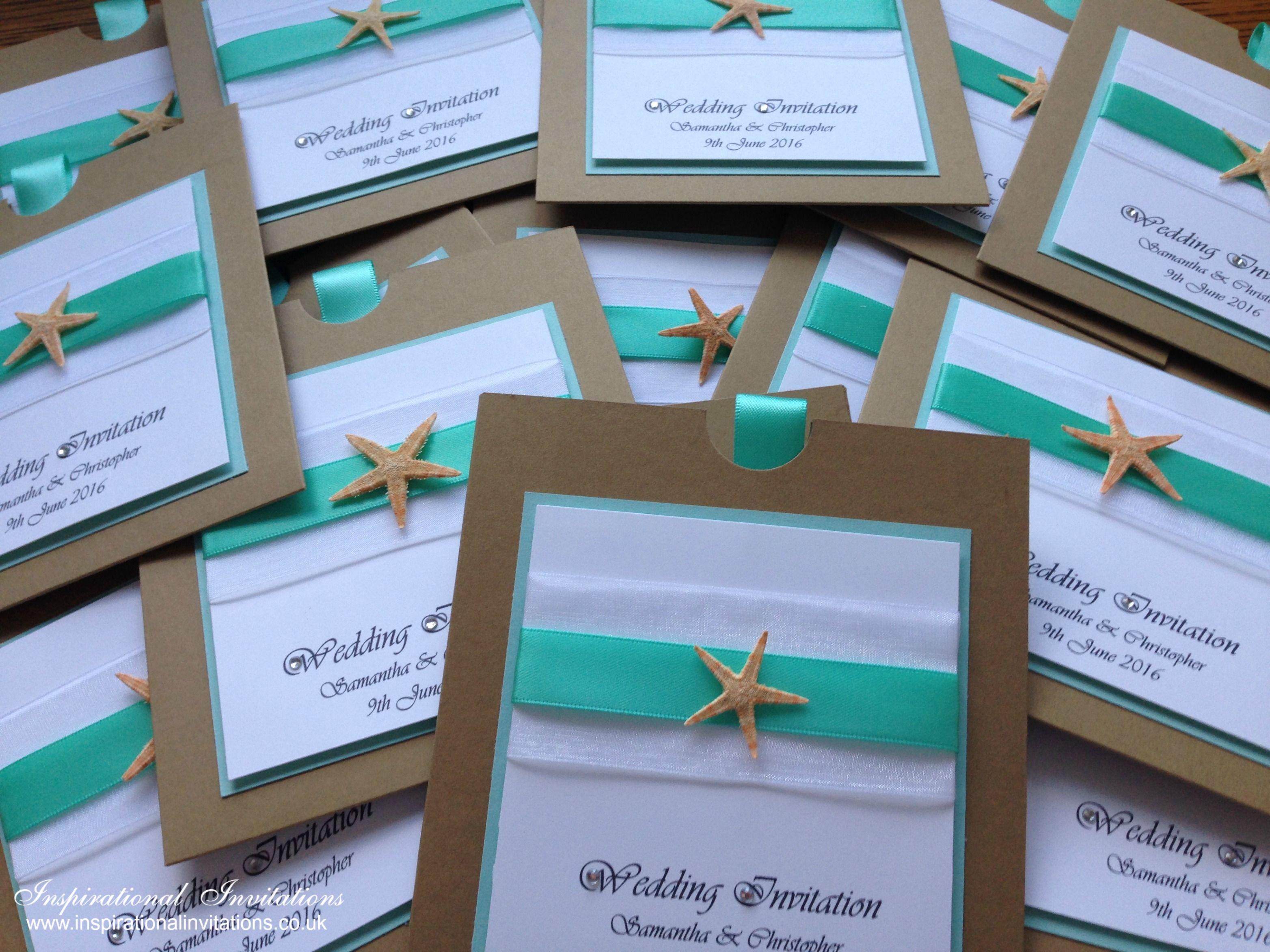 Katy Neve Handmade Beach Themed Wedding Invitation Silver