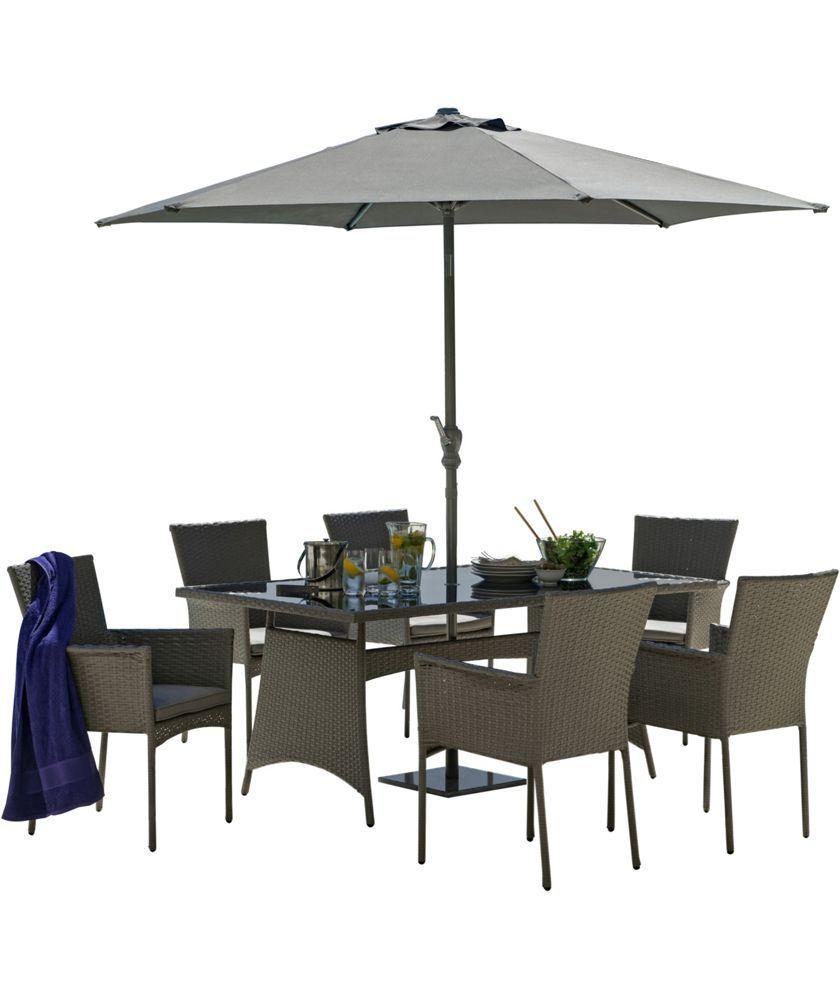 buy havana 6 seater patio set grey at