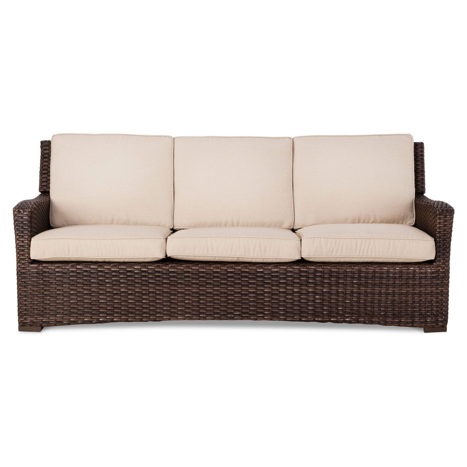 Halsted Wicker Patio Sofa With Cushions Threshold Patio Sofa