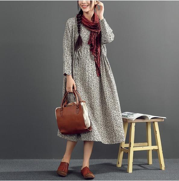 "Material : cotton linen Long sleeve Round Neck Loose waist One size fit for M,L Bust : 120 cm/ 47.24 ""Waist: 116 cm/ 45.67 ""Arm: 42 cm/ 16.54 ""Shoulder sleeve:"