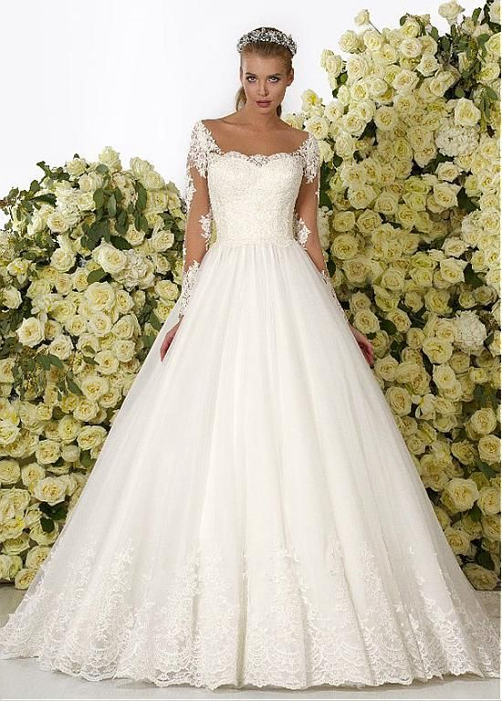 Buy discount Romantic Tulle Bateau Neckline Ball Gown Wedding ...