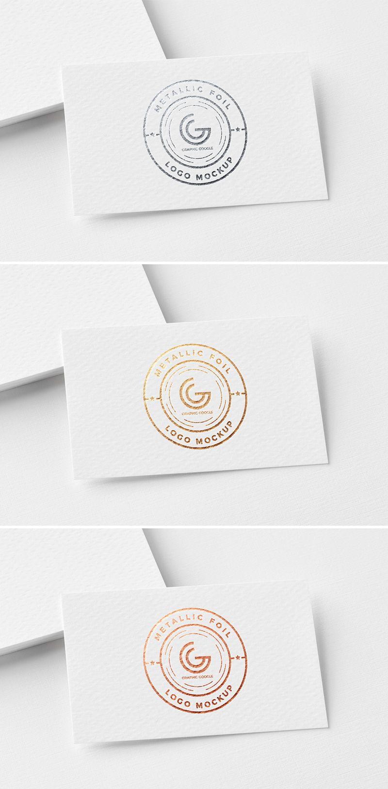 Free Metallic Foil Logo Mockup on Behance Logo mockups