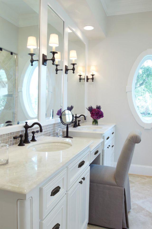 beautiful white barhroom with black accessories make the on bathroom renovation ideas white id=55023