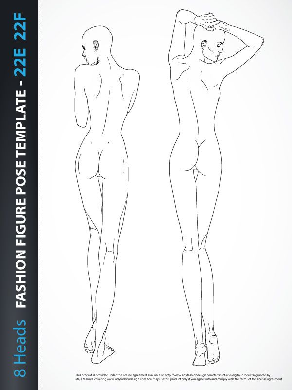 8 Heads Fashion Figure Template, includes two fashion figures from - fashion designer templates