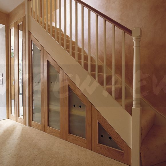 Grey Panelling Under Stairs: Frosted Glass That Would Also Match A New Bathroom