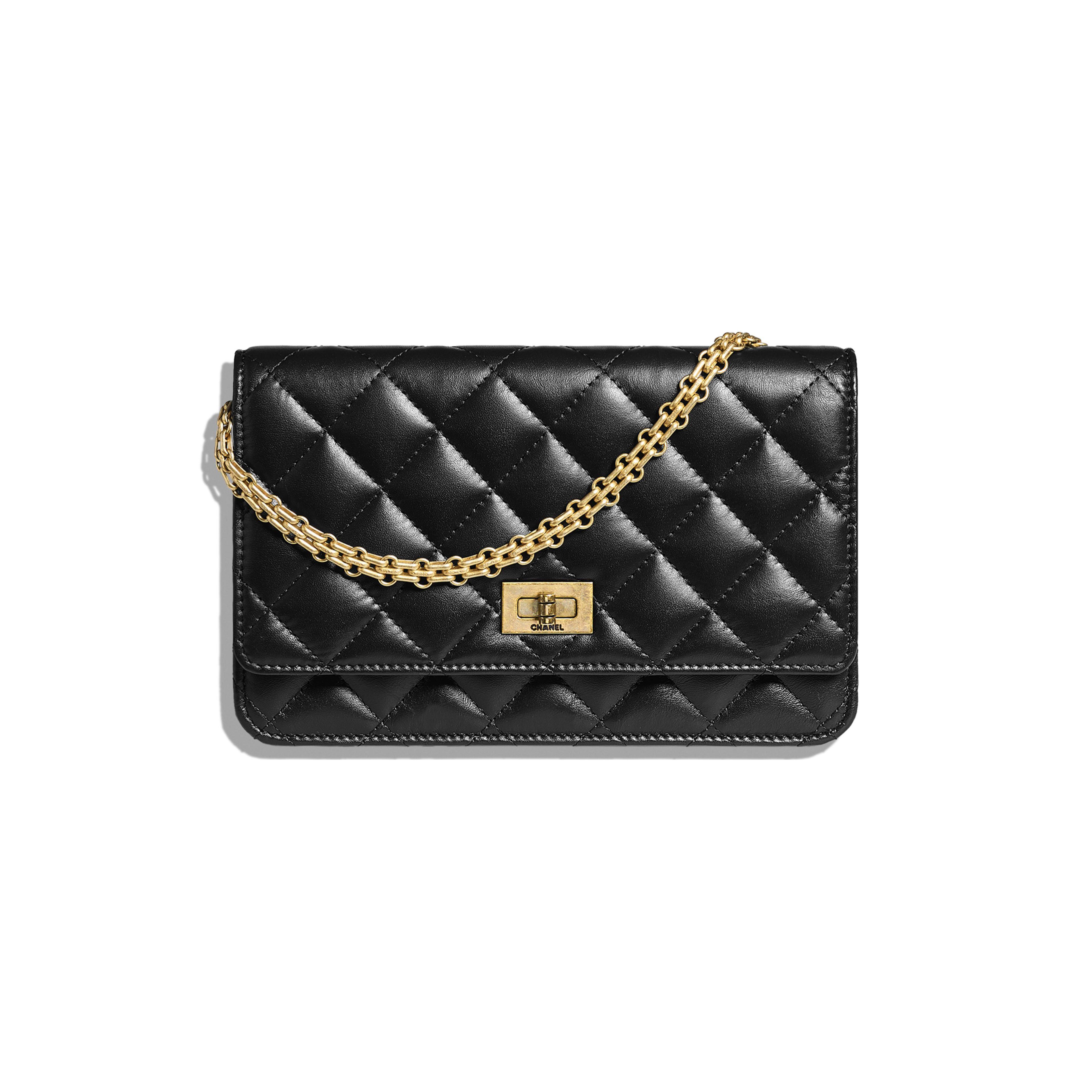 de02b9a940 2.55 Wallet on Chain - Black - Aged Calfskin   Gold-Tone Metal - Default
