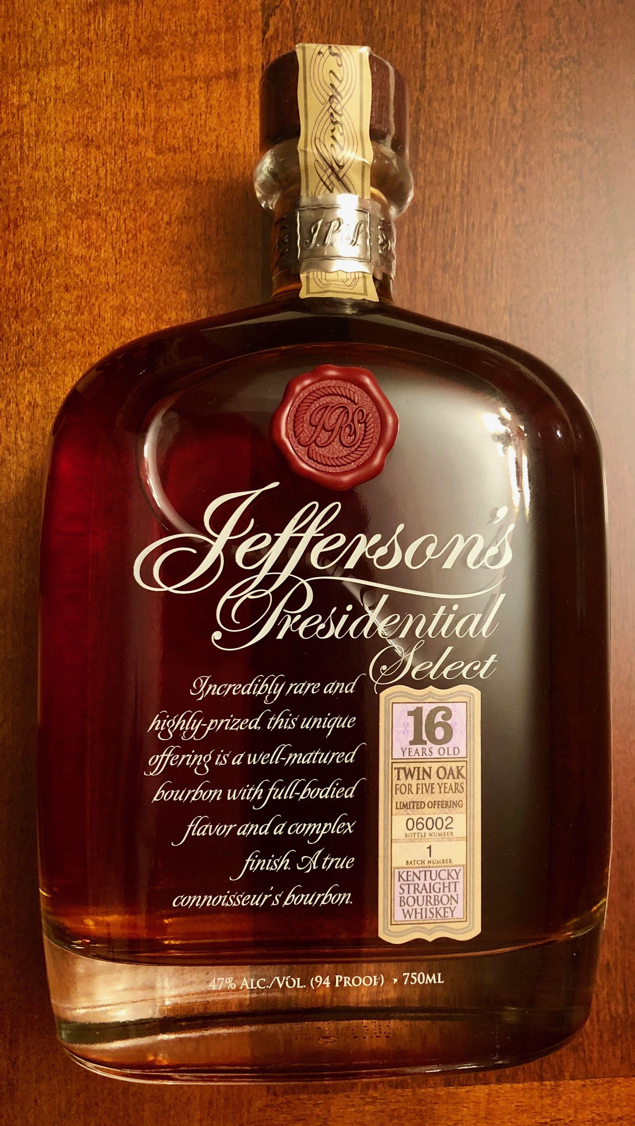7023d025dac Jefferson s Presidential Select 16 Year Old Twin Oak Kentucky Straight  Bourbon Whiskey.  10