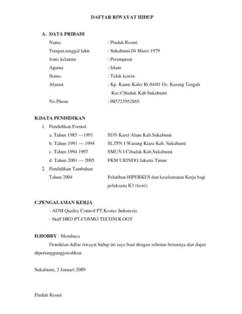 contoh daftar riwayat hidup doc 1