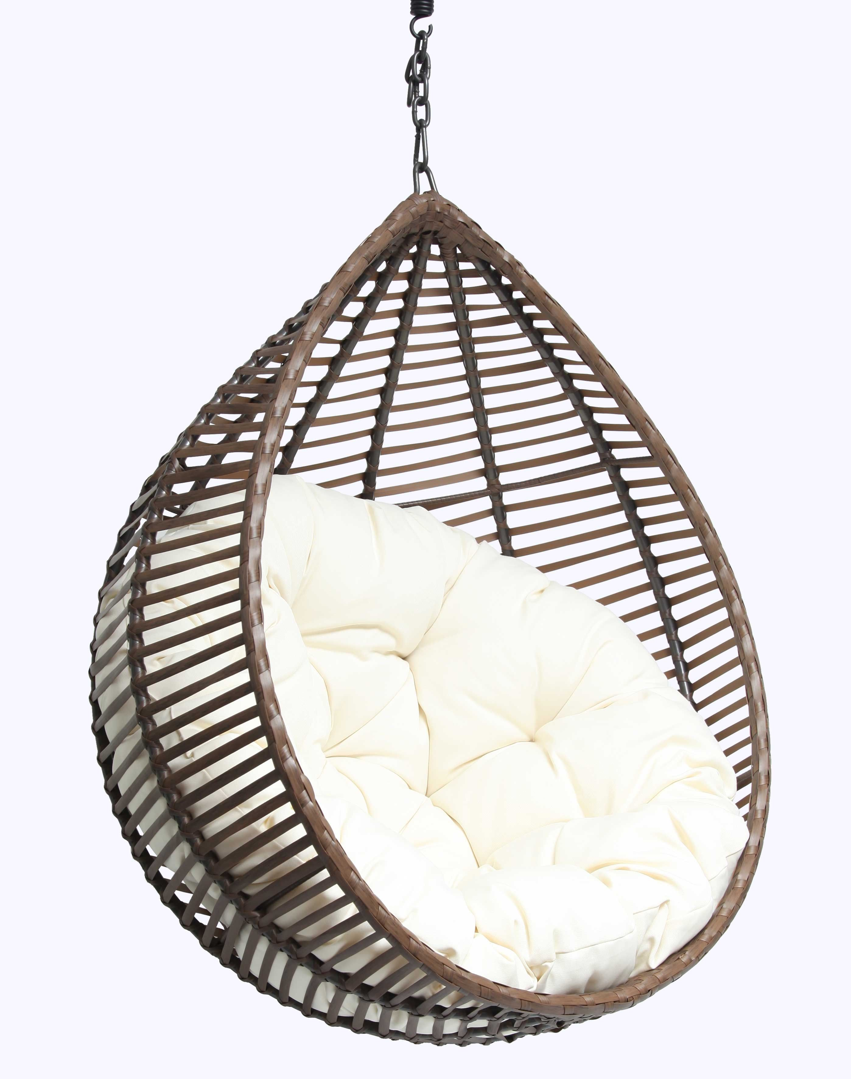 Furniture Excellent Rattan Hanging Egg Chair With White Fabric Tufted Seat As Inspiring Outdoor Garden Hanging Egg Chair Hanging Chair Outdoor Egg Swing Chair