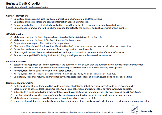 Business Credit Checklist  Download Free Pdf  Business Credit