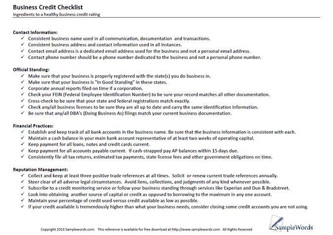business credit checklist
