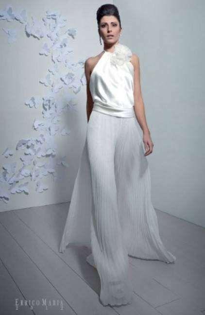 diseño de novia en blanco con pantalón errico maria - propuesta para