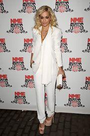 Rita Ora Pantsuit #whitepantsuit