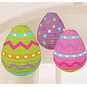 """These Easter Egg-Shaped Lanterns feature the look of brightly colored Easter eggs. Each set of Easter Egg-Shaped Lanterns includes three 9 1/2"""" and is made of tissue and wire. The Easter Egg-Shaped Lanterns is a fun way to decorate for the Easter Bunny."""