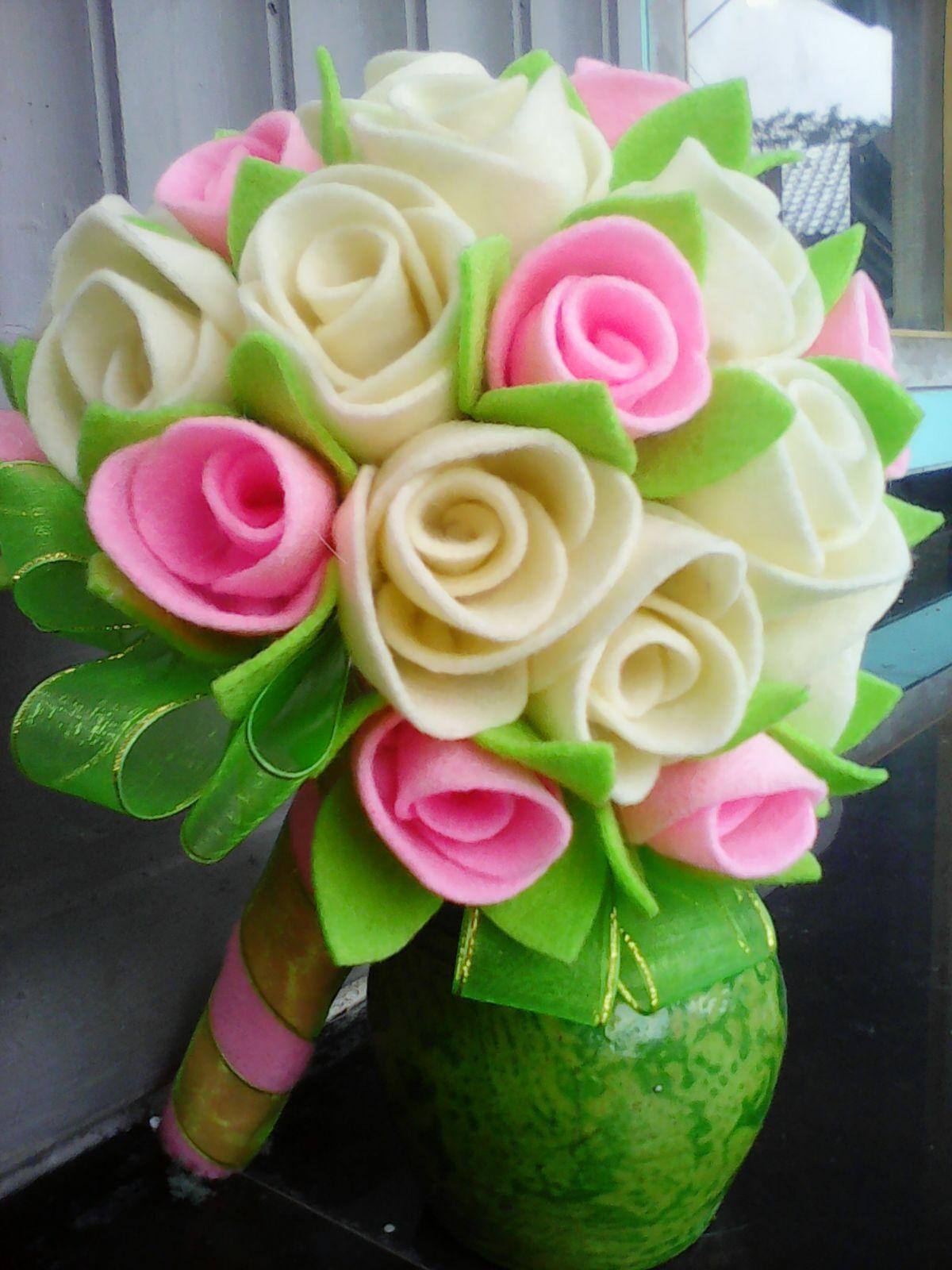 Bouquet Bunga Flanel Mawar Felt Flower Bouquet Makarame Diy Hand