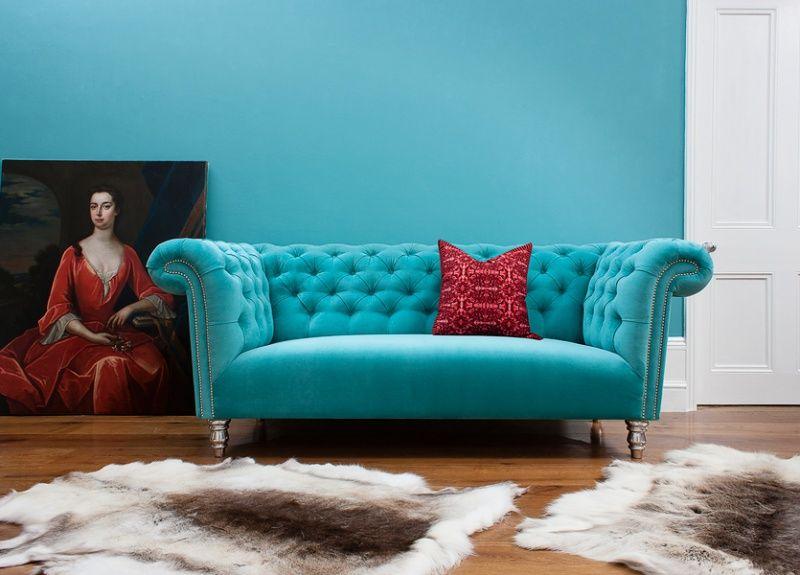 Turquoise Velvet Chesterfield Sofa By