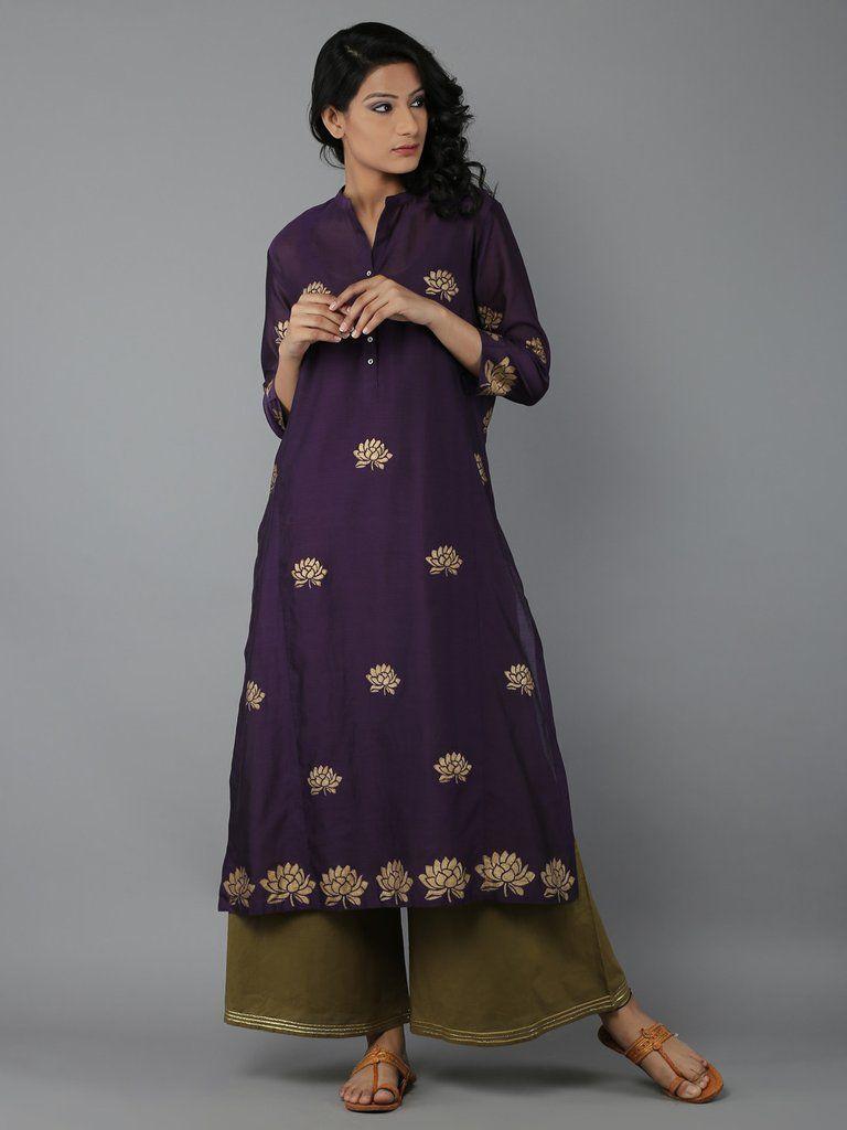 Purple Block Printed Chanderi Kurta with Cotton Slip