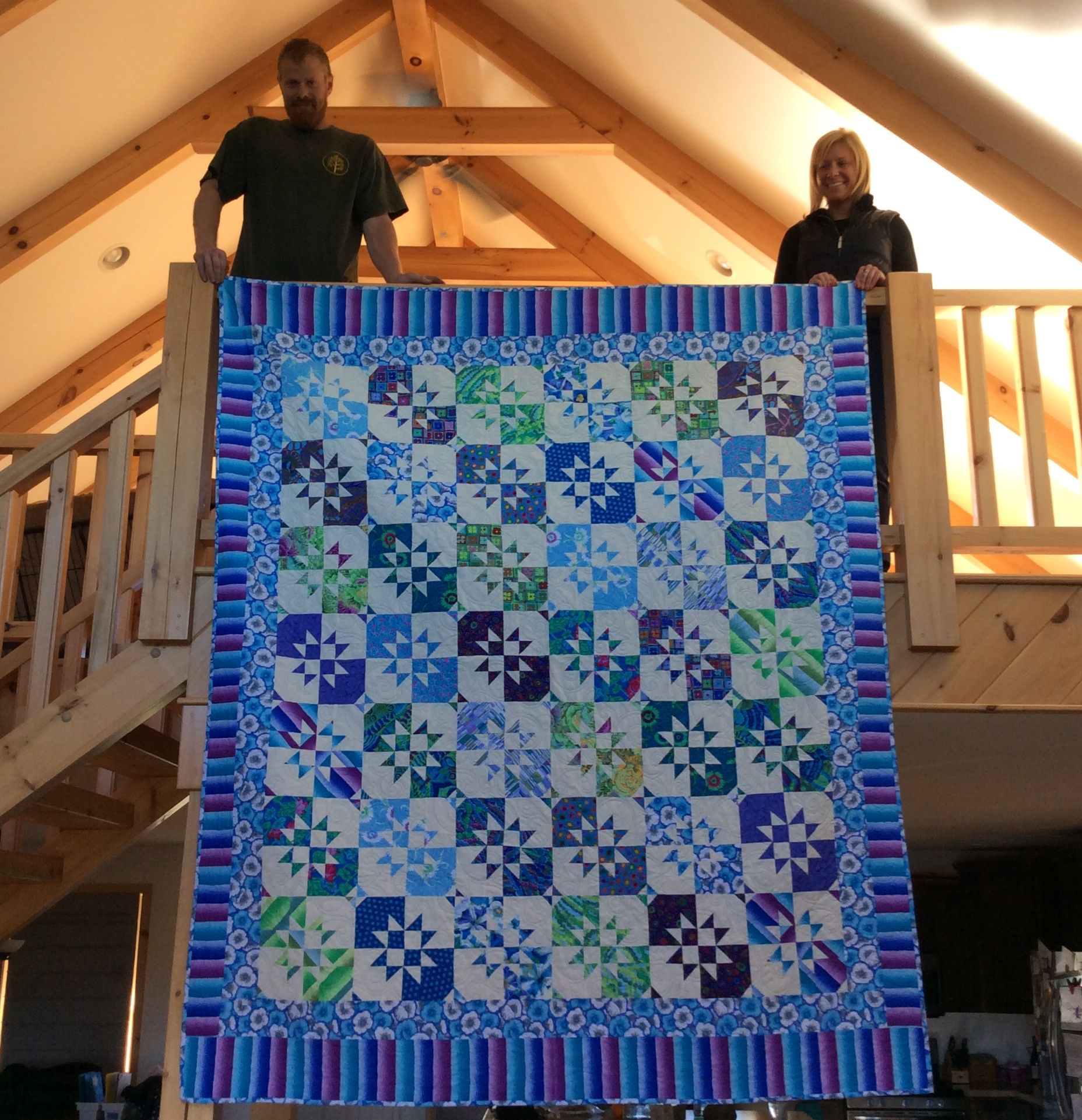 Disappearing Hourglass Quilt. Fun quilt from Missouri Star Quilting. Gave to my son and his wife.