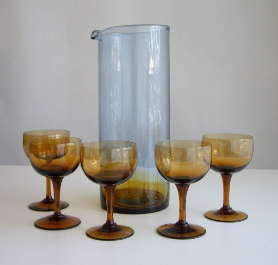 Sale, Vintage, Barware, Cocktail Set, Bluerina, MCM, Midcentury Modern,  Cocktail Glasses, Pitcher Set, Amber, Blue, Mid Century Modern