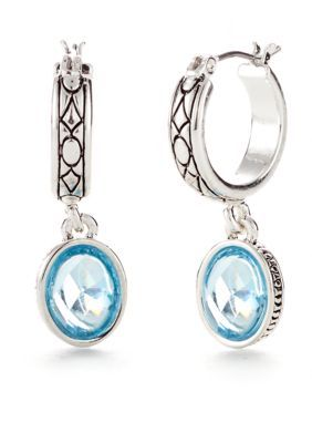 057d85921 Napier Tile Works Silver-Tone and Light Blue Stone Drop Hoop Earrings